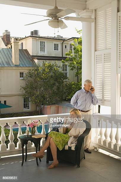 Man and woman on balcony