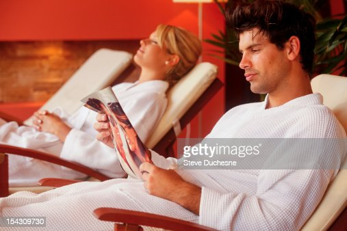 Man and woman relaxing in spa : Stock Photo
