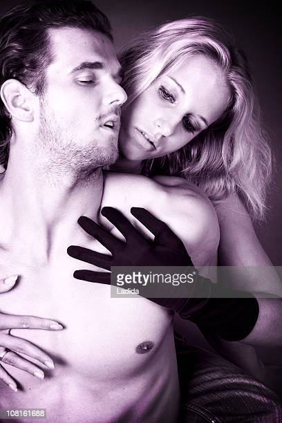 Man and Woman Sensually Embracing, Toned