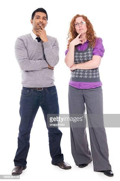 Mann und Frau zusammen. Eine Entscheidung getroffen