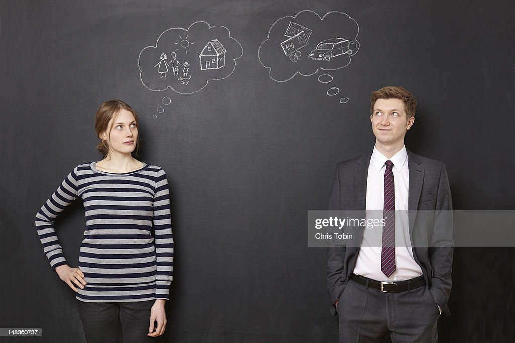 Man and woman thinking about their future : Stock Photo