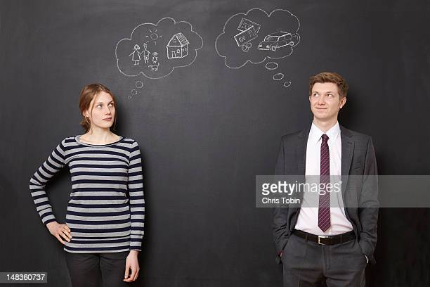 Man and woman thinking about their future