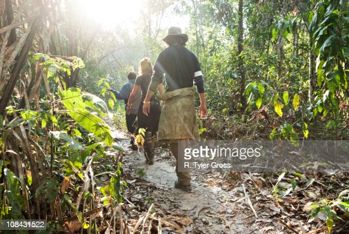 A man and woman walk through the amazon rainforest during the mid morning.