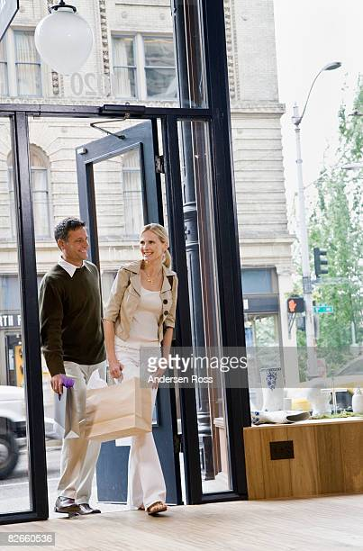 Man and woman walking in