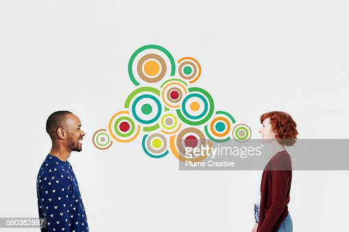 Man and woman with illustrated bubbles
