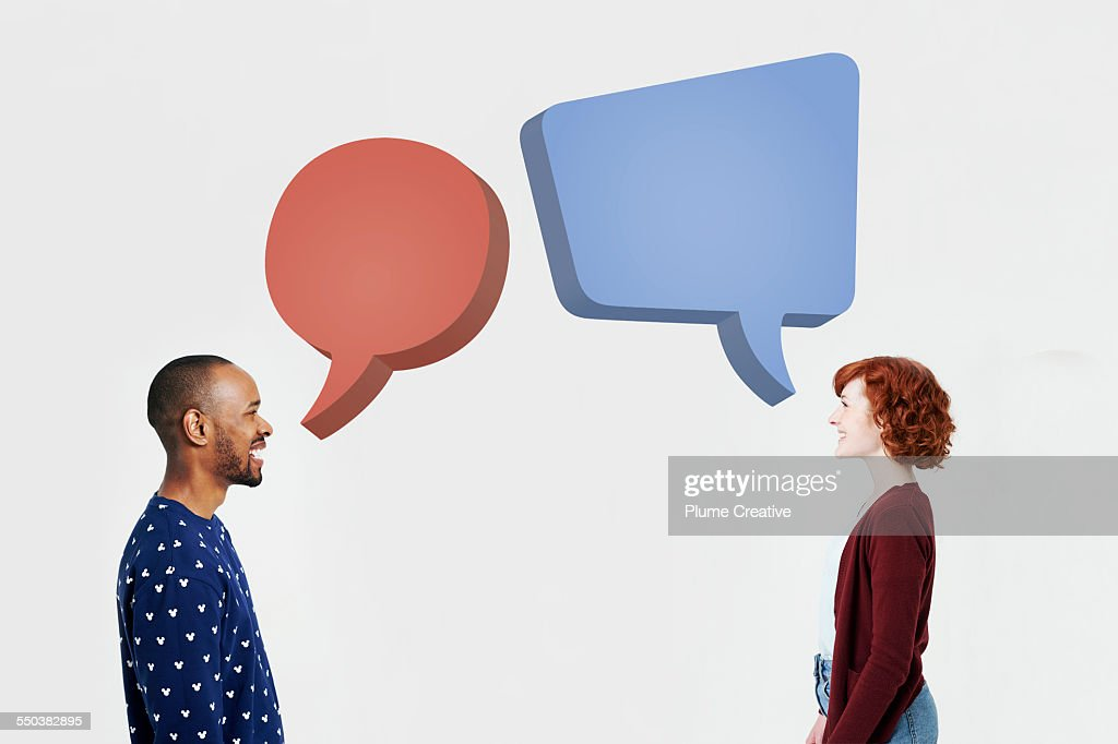 Man and woman with illustrated speech bubbles