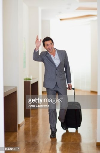 Man arriving at hotel