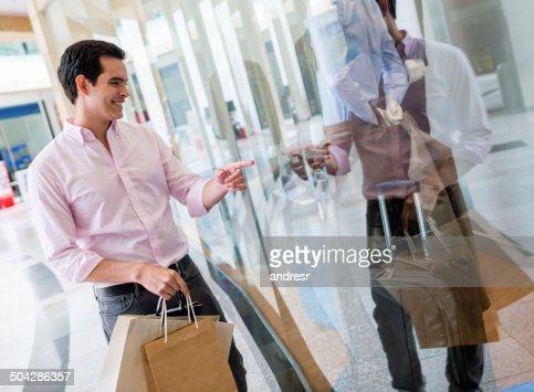 Man at a shopping center