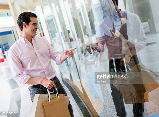 Man at a shopping center