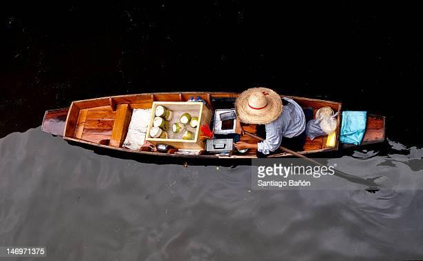 Man at boat at floating market