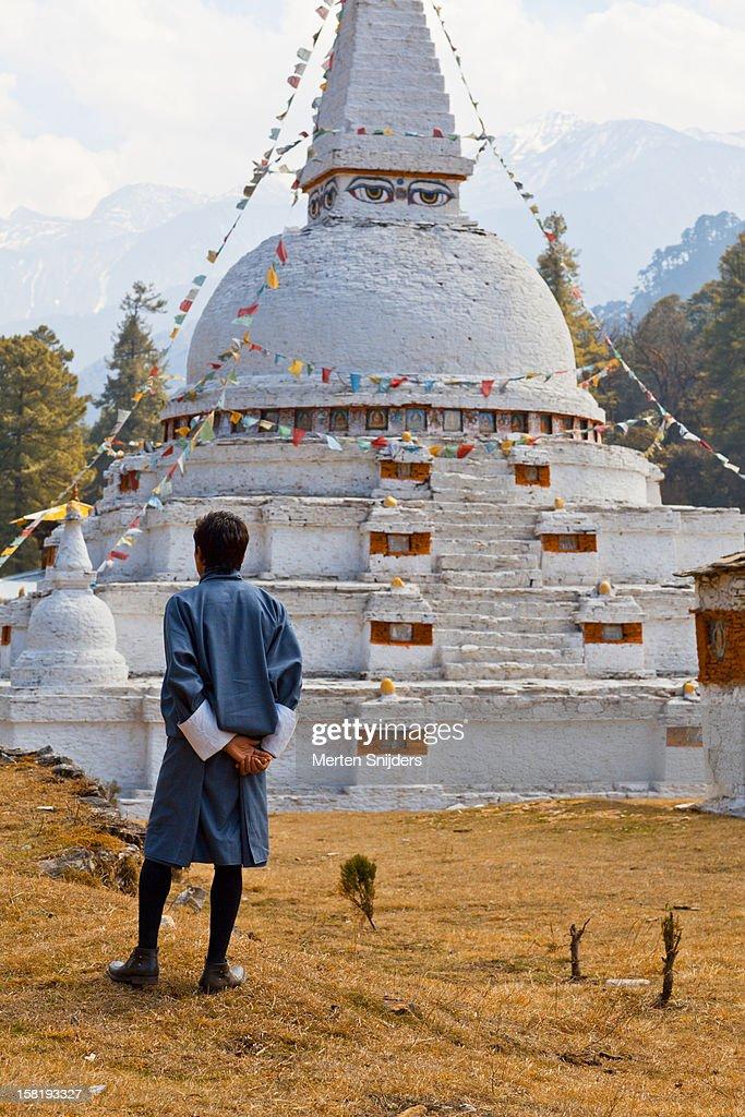 Man at Chendebji Chorten Stupa : Stock Photo