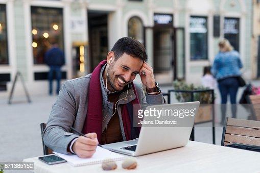 Man at coffee shop : Stock Photo