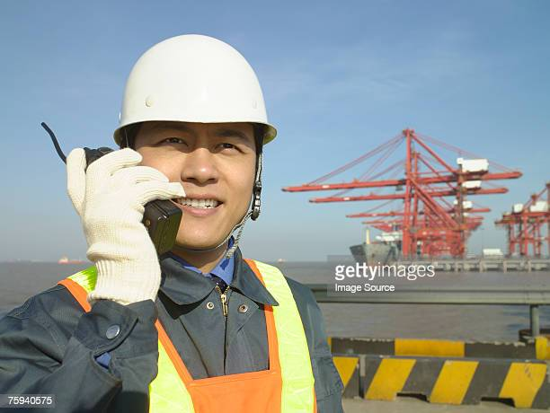 Man at container terminal