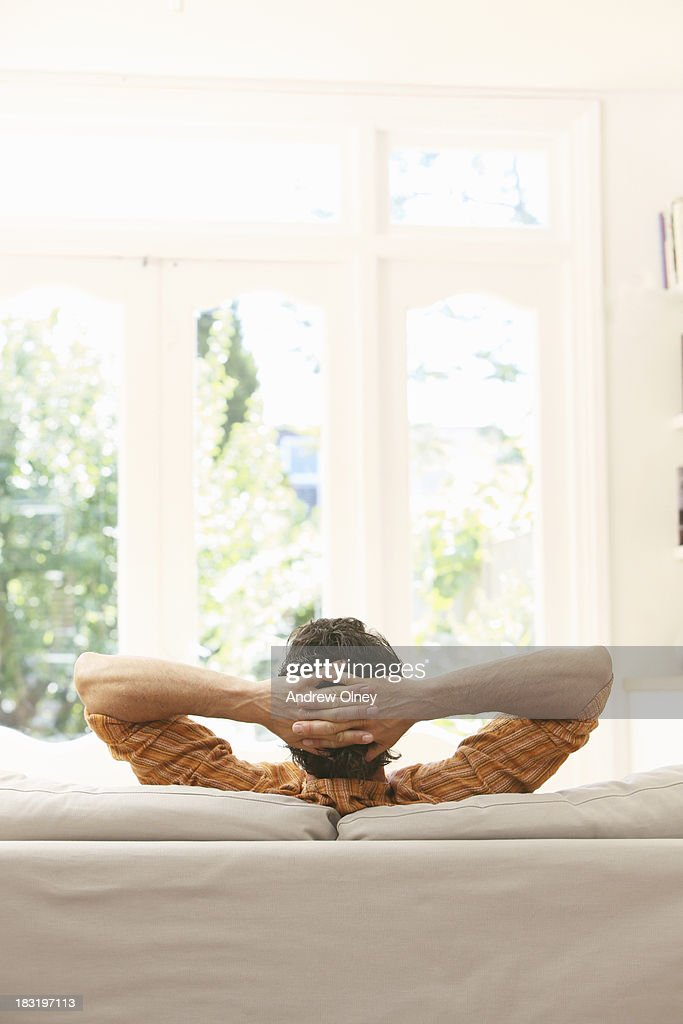 man at home relaxing