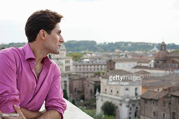 man at look-out, enjoying the view of Rome