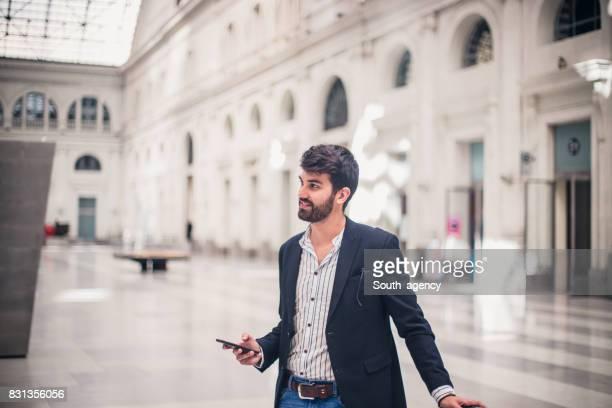 Man at train station
