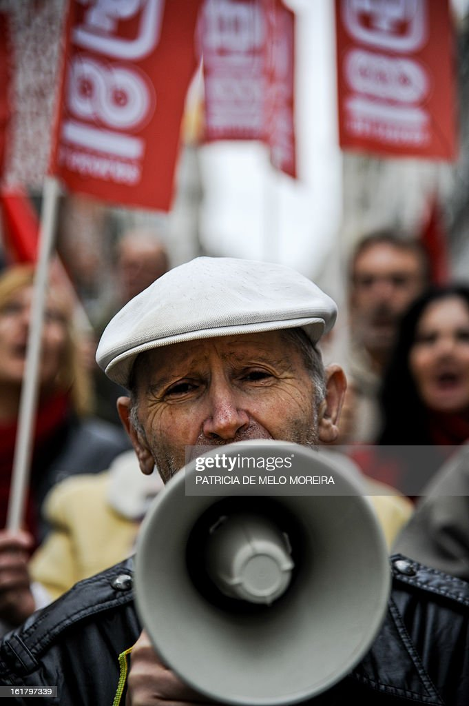 A man attends a demonstration organized by Portugal's biggest trade union CGTP (Portuguese General Workers Confederation) against government austerity measures in Lisbon, on February 16, 2013.