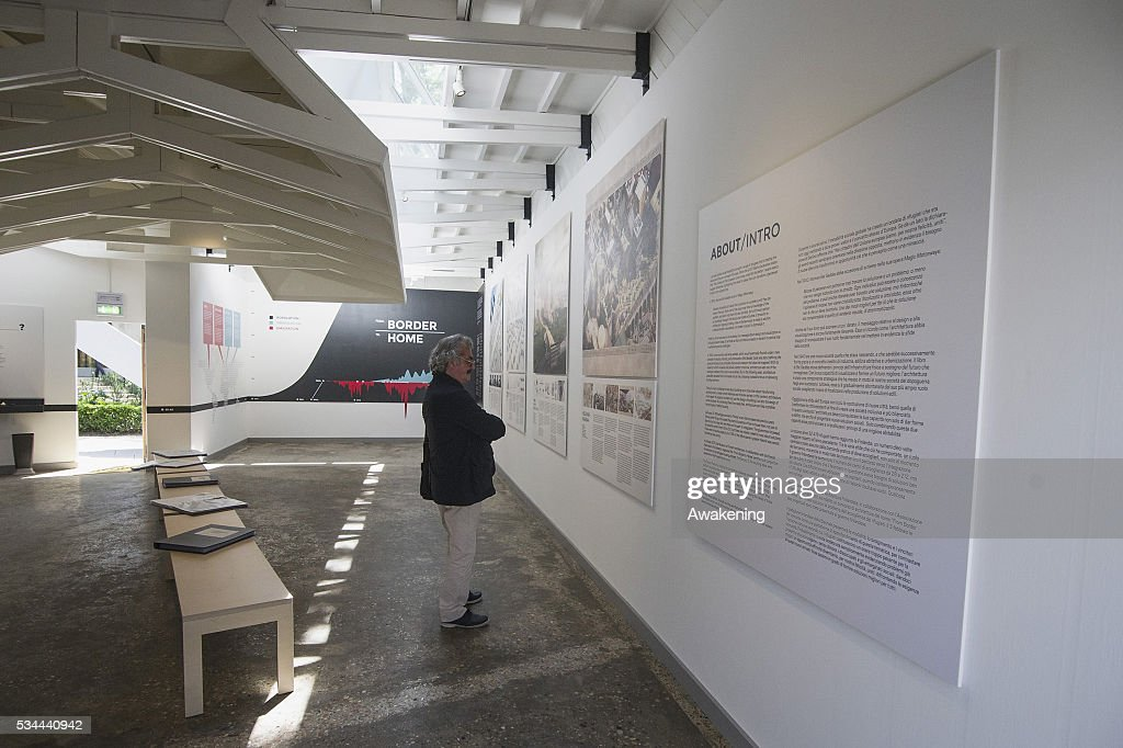 A man attends at the Finland Pavillion of the 15th Architecture Venice Biennale, on May 26, 2016 in Venice, Italy. The 15th International Architecture Exhibition of La Biennale di Venezia will be open to the public from May 28 to November 27 in Venice, Italy.