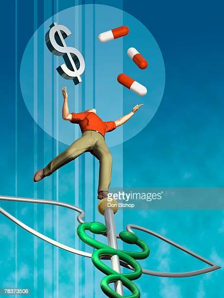 Man balancing drugs and dollar sign