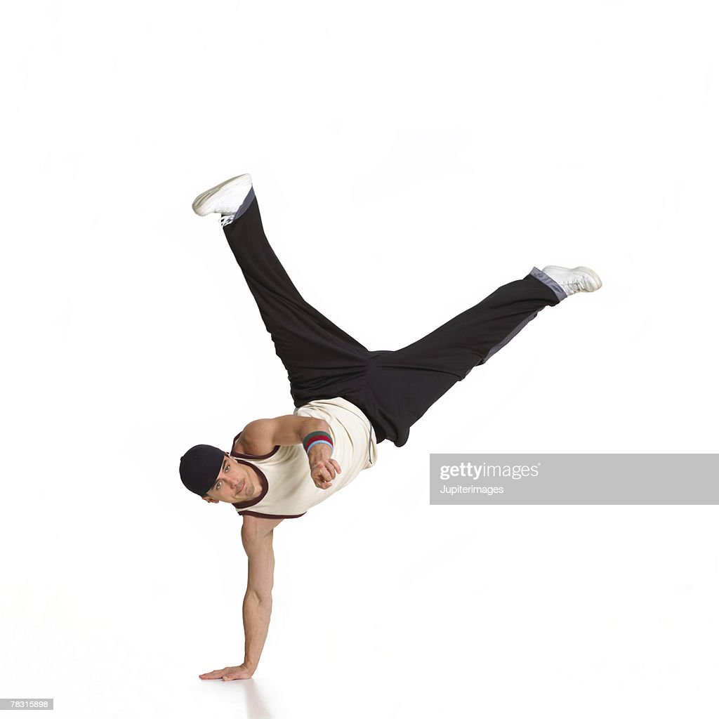 Man Balancing on One Hand : Foto stock