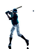 one caucasian man baseball player playing  in studio  silhouette isolated on white background