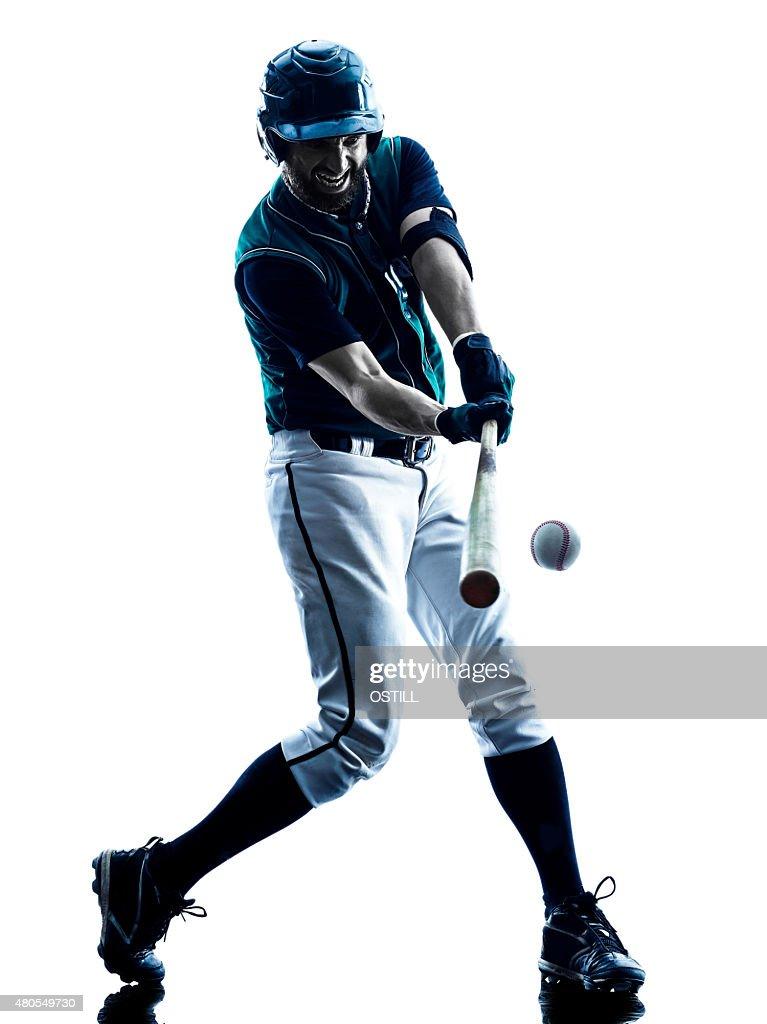 Aislado de silueta hombre de jugador de béisbol : Foto de stock