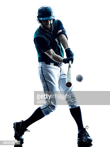 man baseball player silhouette isolated : Stock Photo