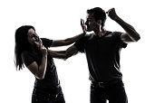 Husband beating up wife. Concept of domestic violence