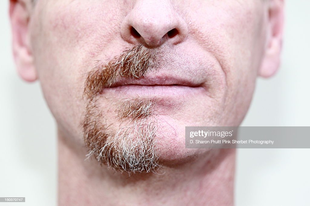 Man before and after half shaved goatee