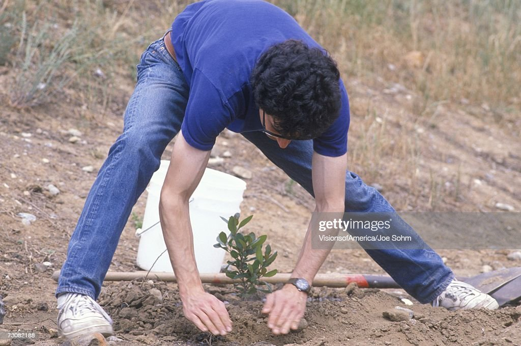A man bending down and planting a small tree on Earth Day