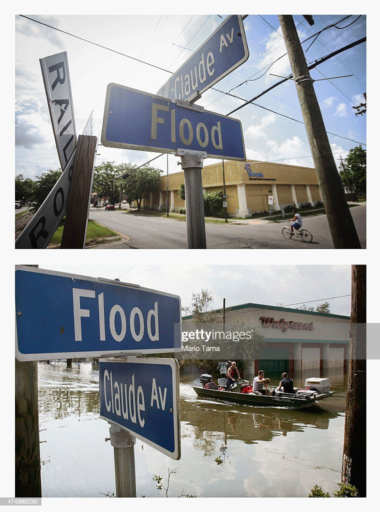 A man bikes past the corner of Flood Street and St Claude Avenue in the Lower Ninth Ward on May 18 2015 in New Orleans Louisiana The tenth...
