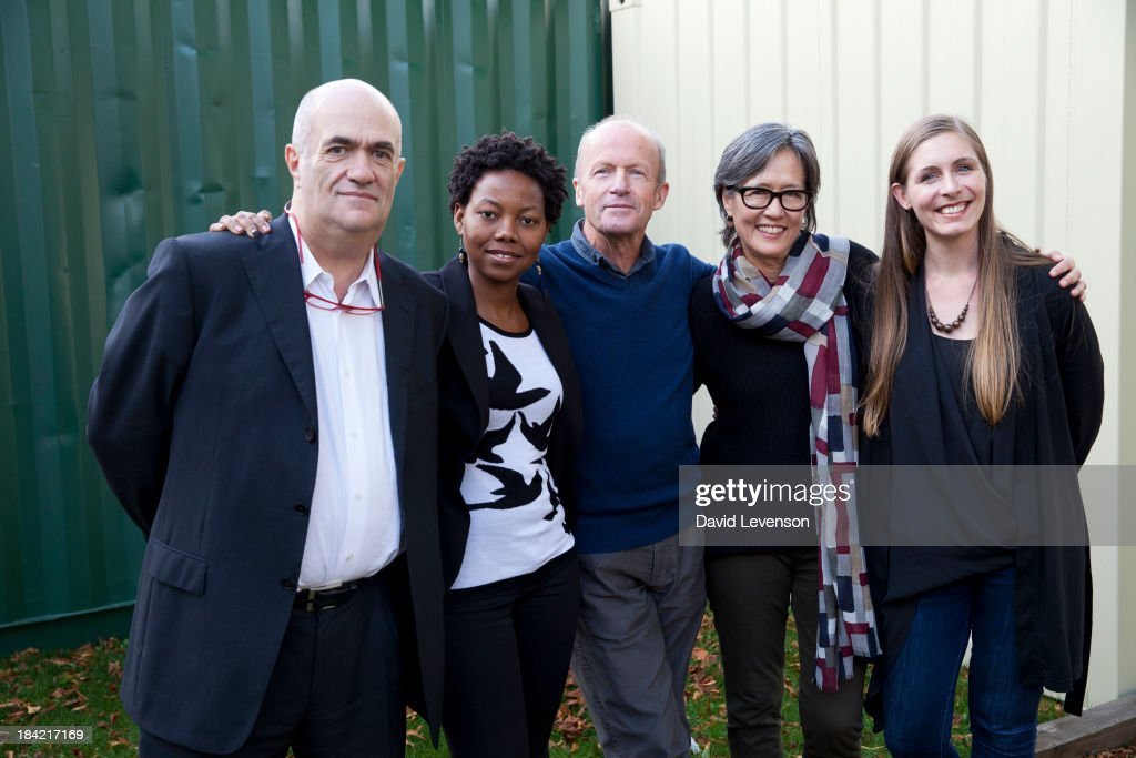 Man Booker shortlist 2013 writers Colm Toibin NoViolet Bulawayo Jim Crace Ruth Ozeki and Eleanor Catton at The Times Cheltenham Literature Festival...