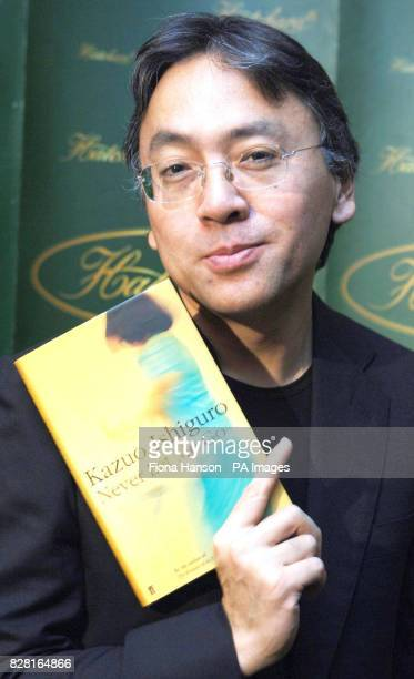 Man Booker shortlist author Kazuo Ishiguro with his novel Never Let Me Go in Hatchard's Piccadilly London today Monday October 10th 2005 The winner...