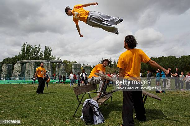 A man bounce on table near Sacrilege an inflatable sculpture of Stonehenge created by British artist Jeremy Deller at Parque del Soto on April 25...