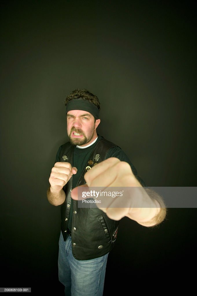 Man boxing, portrait, elevated view : Stock Photo