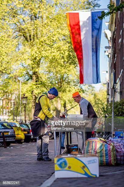Man browsing fleamarket offerings