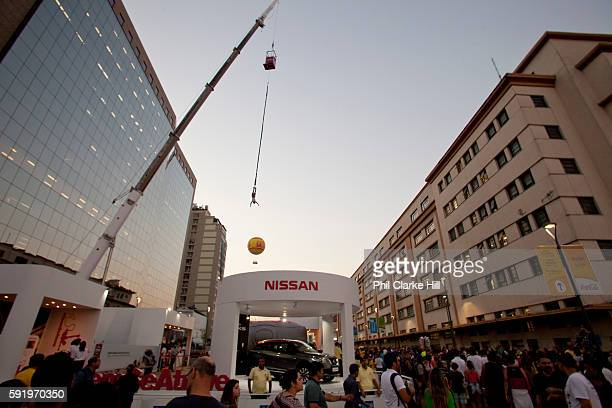 A man bungee jumping People from all over the World have come down to the Olympic boulevard to enjoy the games at this live site Praca Maua and Praca...