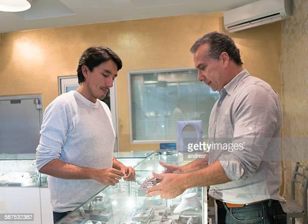 Man buying an engagement ring