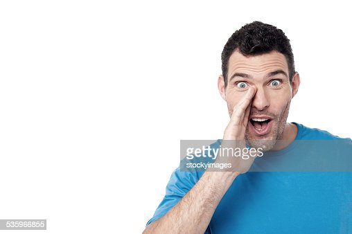Man calling loudly someone : Stock Photo