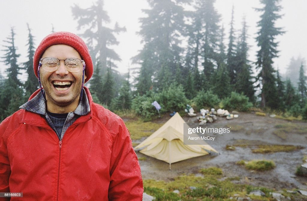 Man camping : Stock Photo
