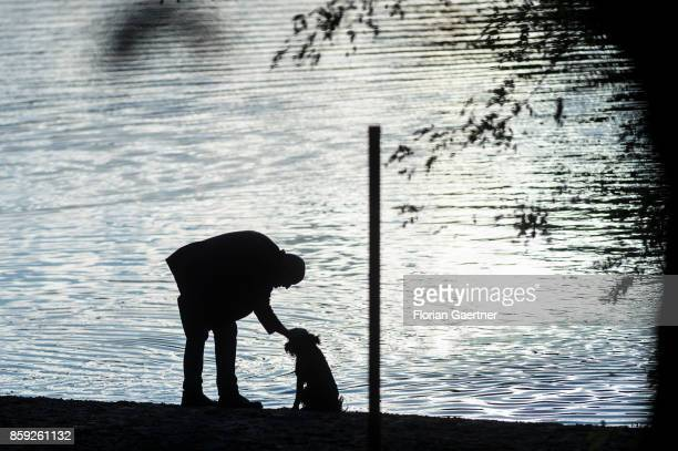 A man caresses his dog on October 08 2017 in Berlin Germany
