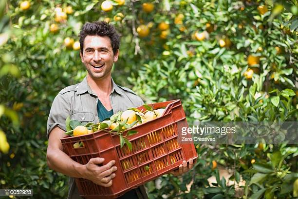 Man carrying a box with oranges