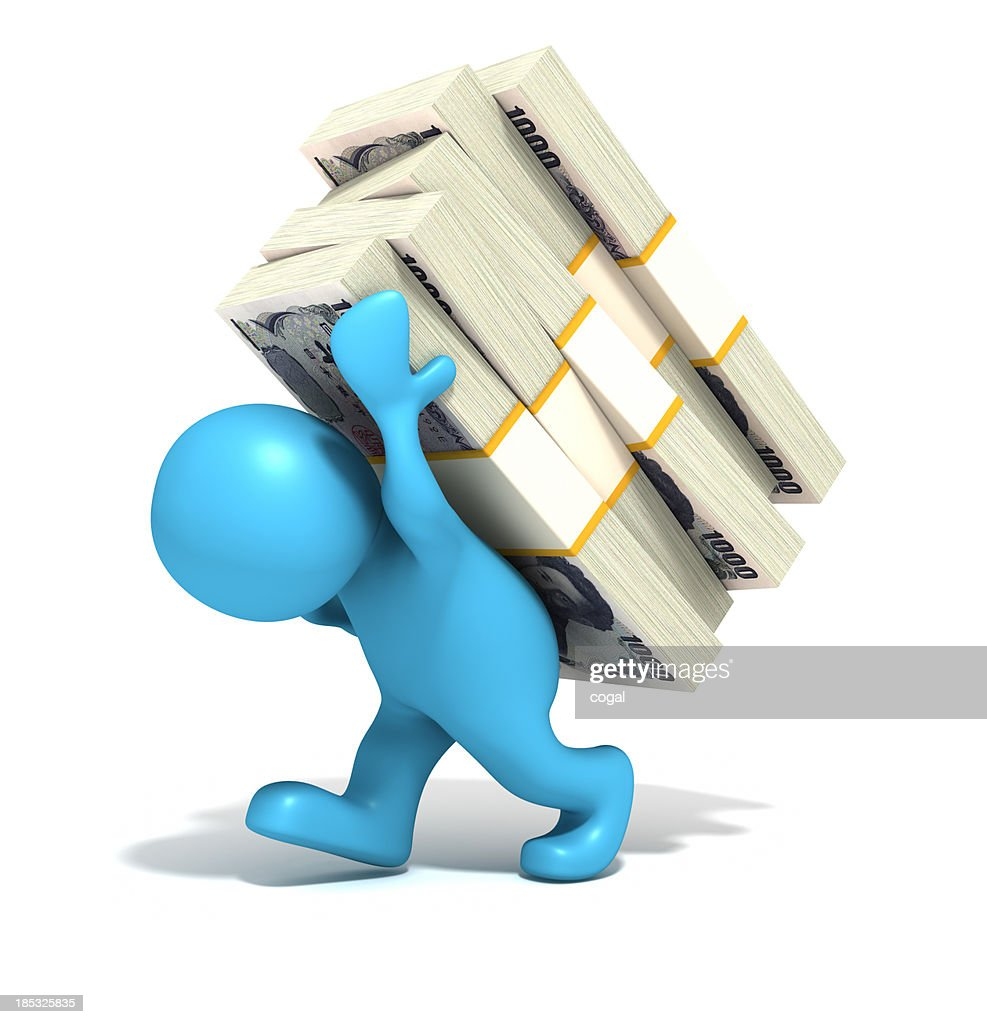 Man carrying Japanese Yen piles