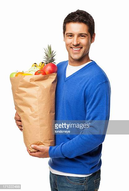 Hombre Bolsa grande de transporte de comestibles aislado