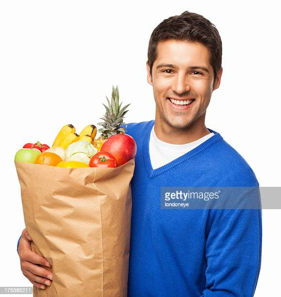 Man Carrying Large Bag Of Groceries - Isolated