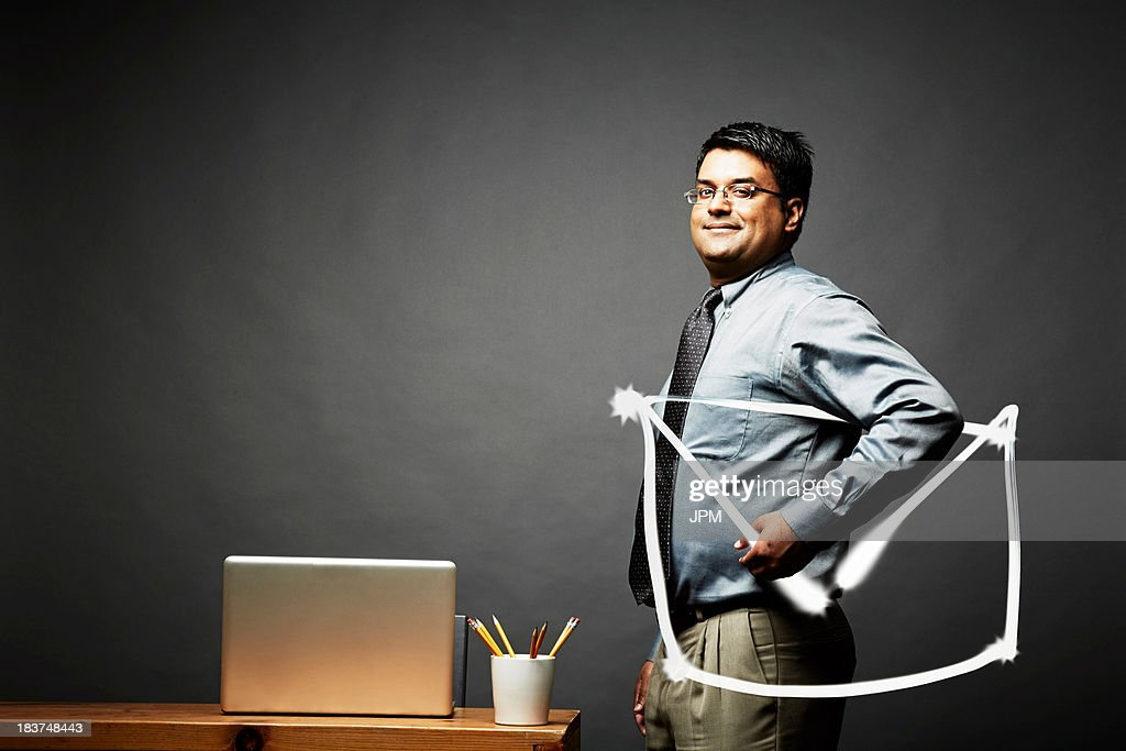 Man carrying letter document looking at camera