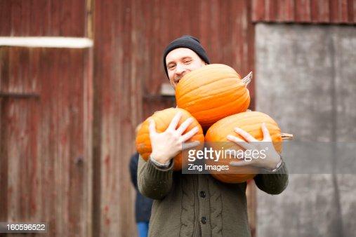 Man carrying pumpkins : Stock Photo