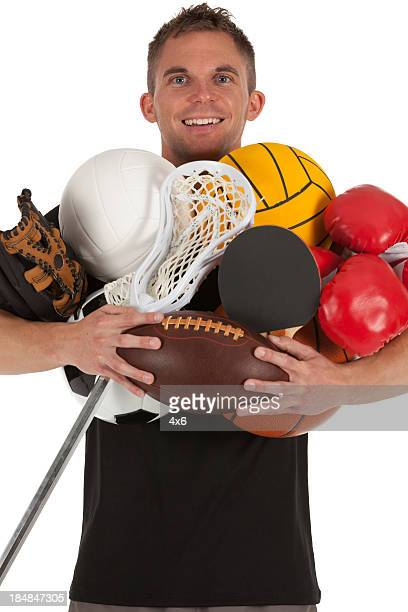 Man carrying sports equipment