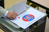 A man casts his ballot on election day on September 14 2014 in Erfurt Germany The elections could bring a possible first state premier from the...