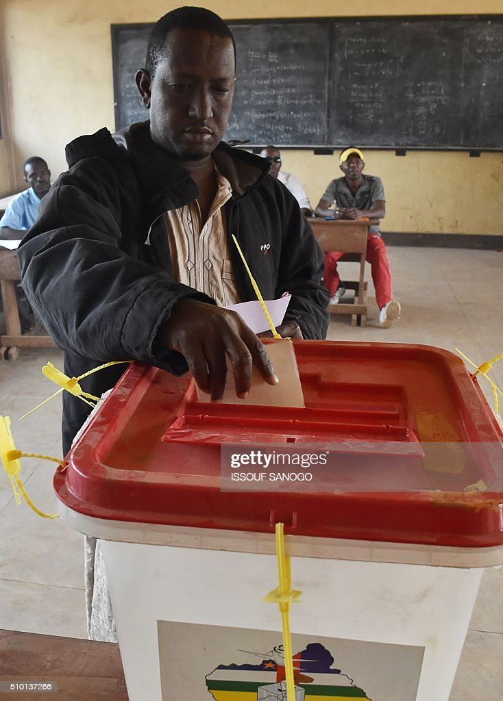 A man casts his vote at the polling station in the muslim district of PK 5 in Bangui for Central African Republic second round presidential and legislative elections on February 14, 2016. Voters in the Central African Republic began casting ballots on February 14 in delayed legislative elections and a presidential run-off which they hope will bring peace after the country's worst sectarian violence since independence in 1960. The nation, dogged by coups, violence and misrule since winning independence from France, could take a step towards rebirth if the polls go smoothly. SANOGO